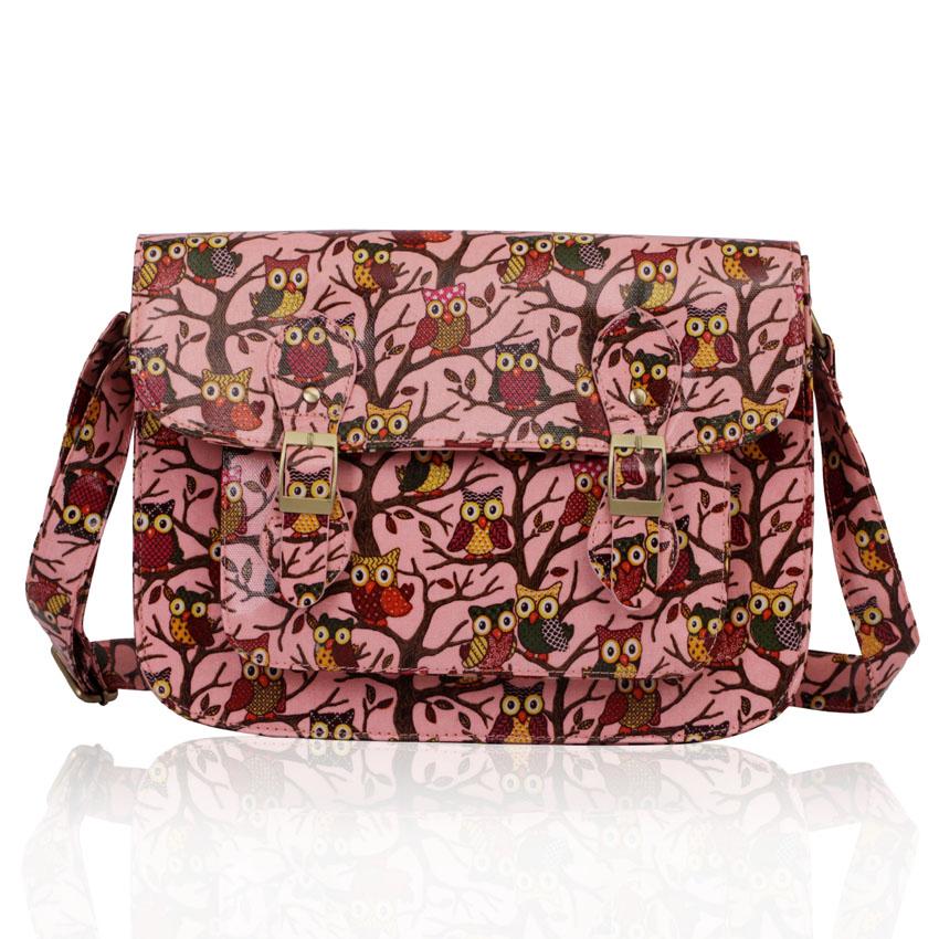 Růžová kabelka LS0087A se sovami