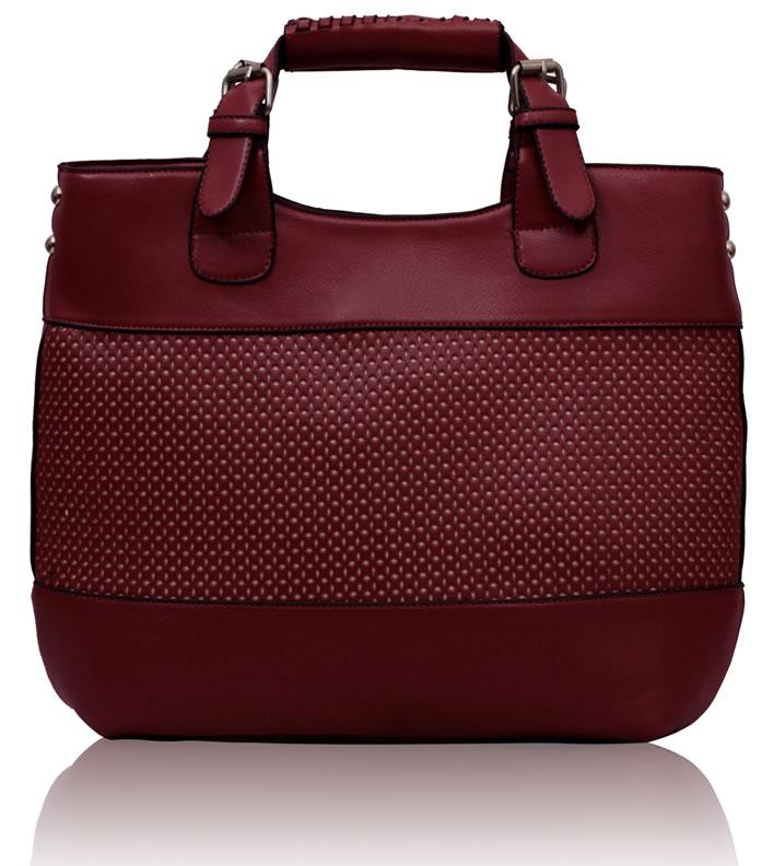Velká tmavěčervená shopperbag kabelka LS00268 perforovaná
