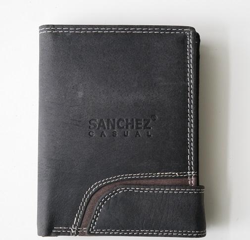 Černá pánská kožená peněženka SANCHEZ Casual na výšku