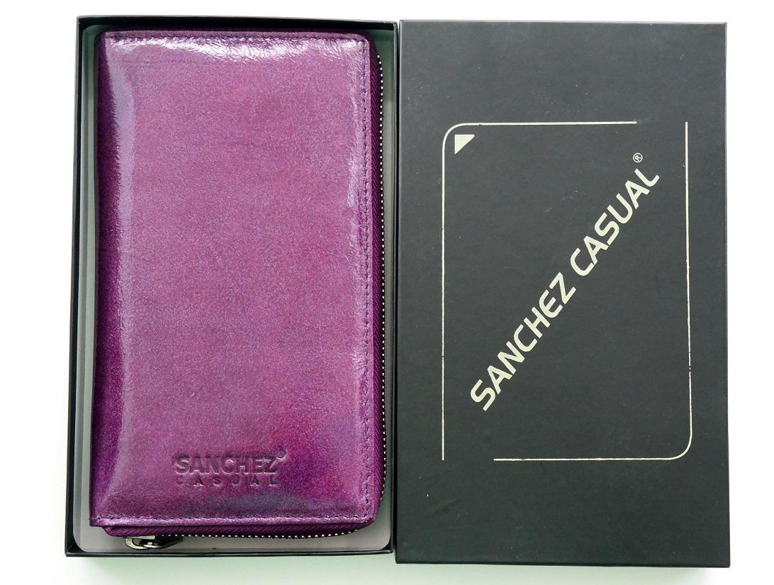Celozipová Fialová dámská kožená peněženka SANCHEZ