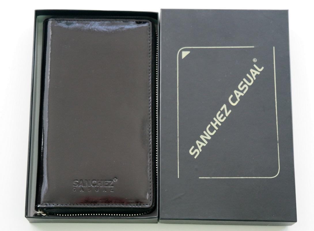 Celozipová dámská černá kožená peněženka SANCHEZ