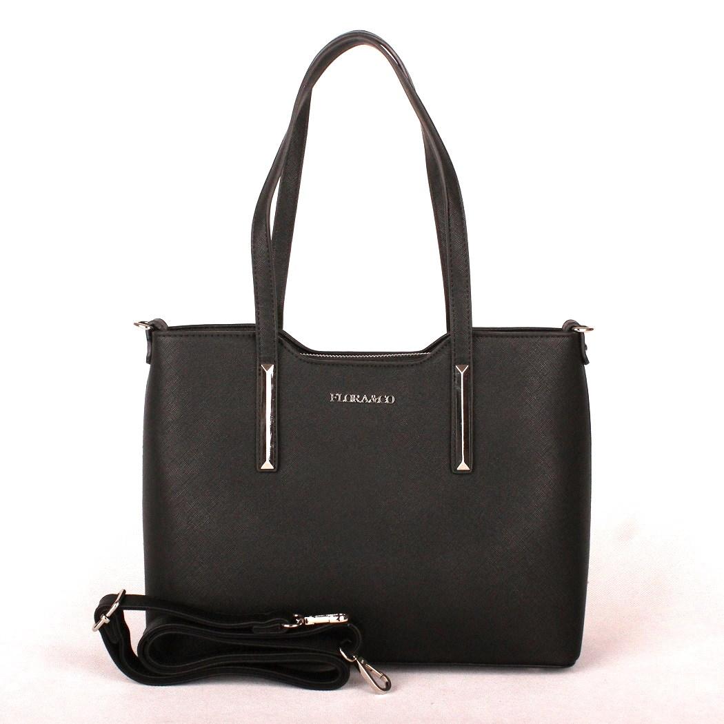 Černá elegantní pevná kabelka do ruky i na rameno FLORA CO F5983 846e4f700a