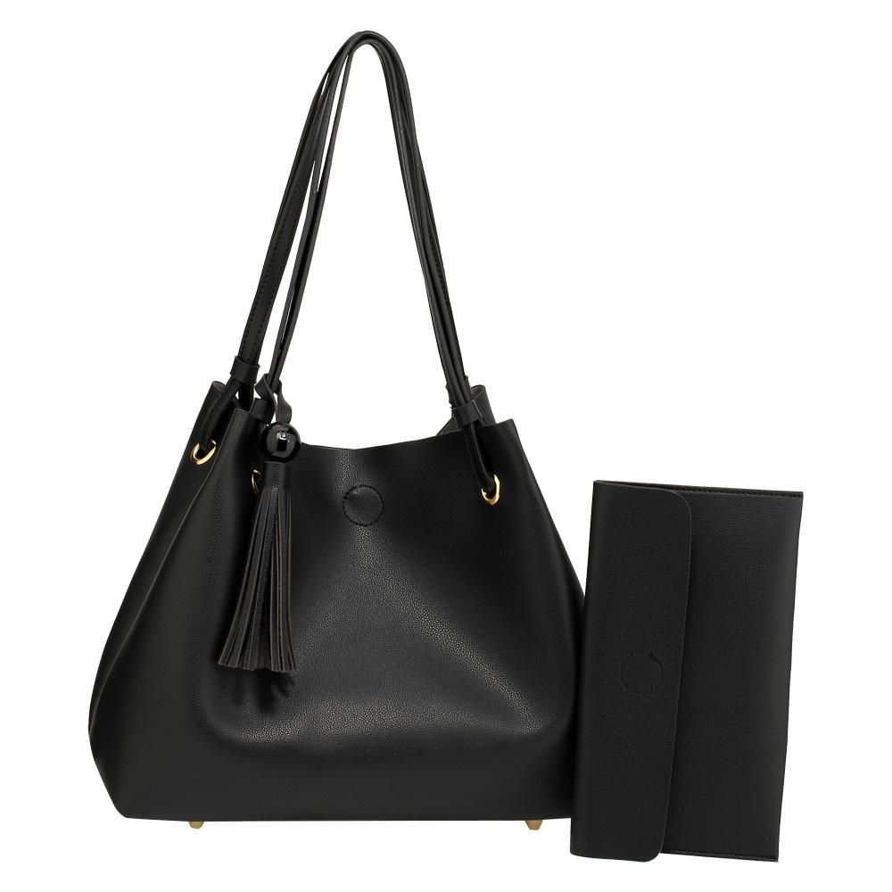 1e6668086b Černá kabelka na rameno + psaníčko AG00611