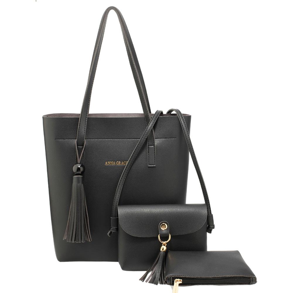 62d41fd86e Černý set 3v1  kabelka na rameno + malá crossbody + kosm. taštička AG00612