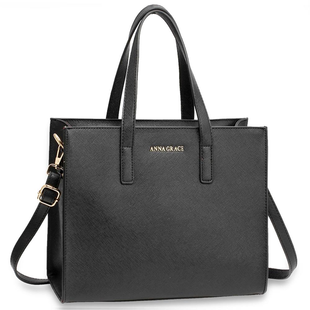 Elegantní středně velká hladká černá kabelka do ruky AG00592 9ab7f7ca8ca