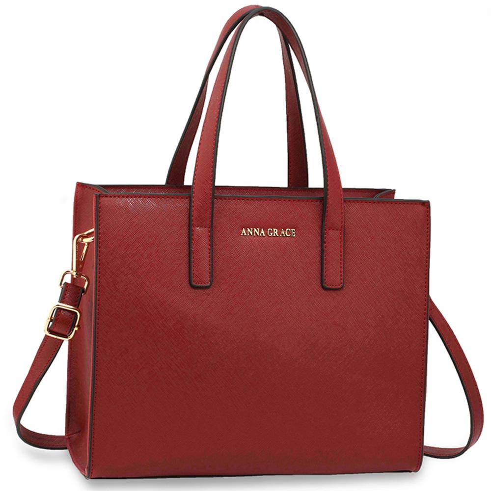 Elegantní středně velká hladká tmavěčervená kabelka do ruky AG00592 e6ae599798e