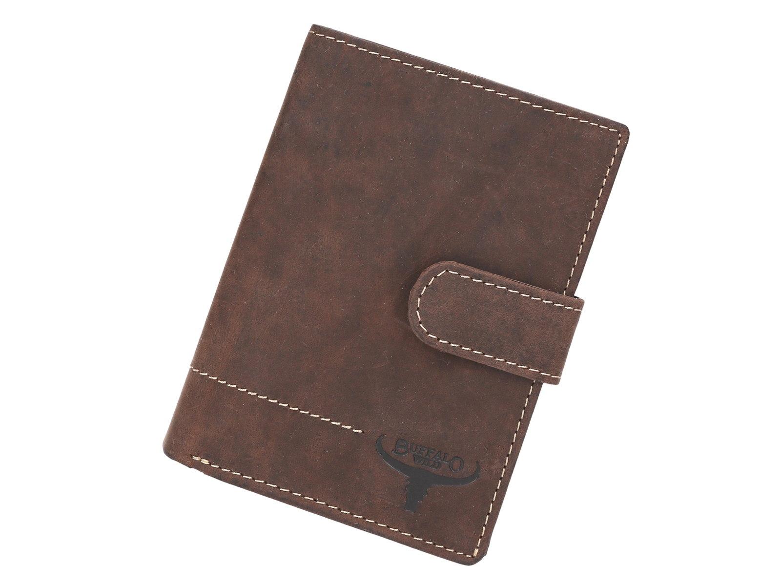 VADA - Tmavěhnědá kožená peněženka Buffalo Wild N4L-H-1 s upínkou 0be82f7c9a