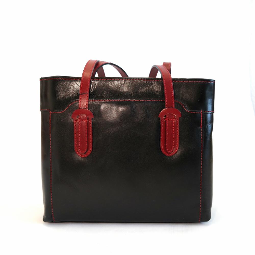 58a484ad07a Tříoddílová černo-tmavěčervená kožená kabelka na rameno no.