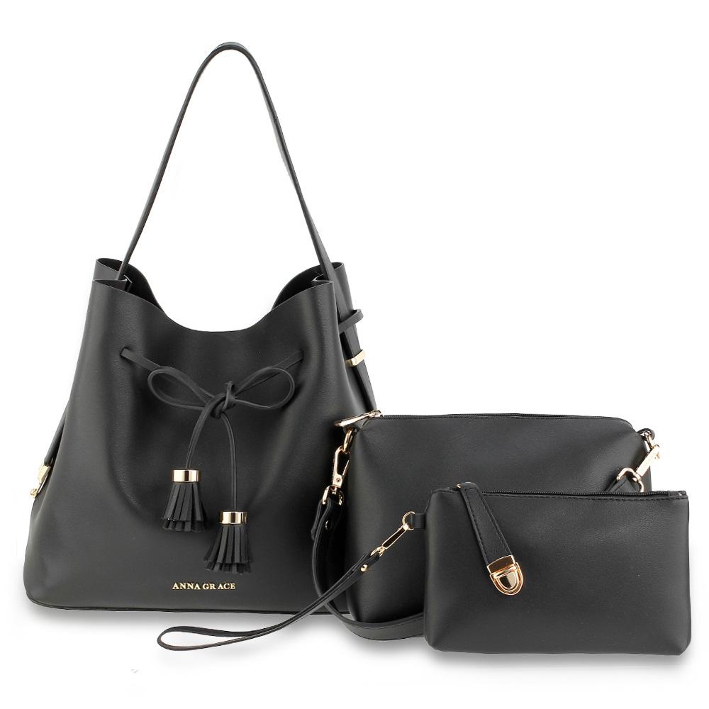 Černý set 3v1  kabelka do ruky i na rameno + malá kabelka + peněženka  AG00656 c650327971
