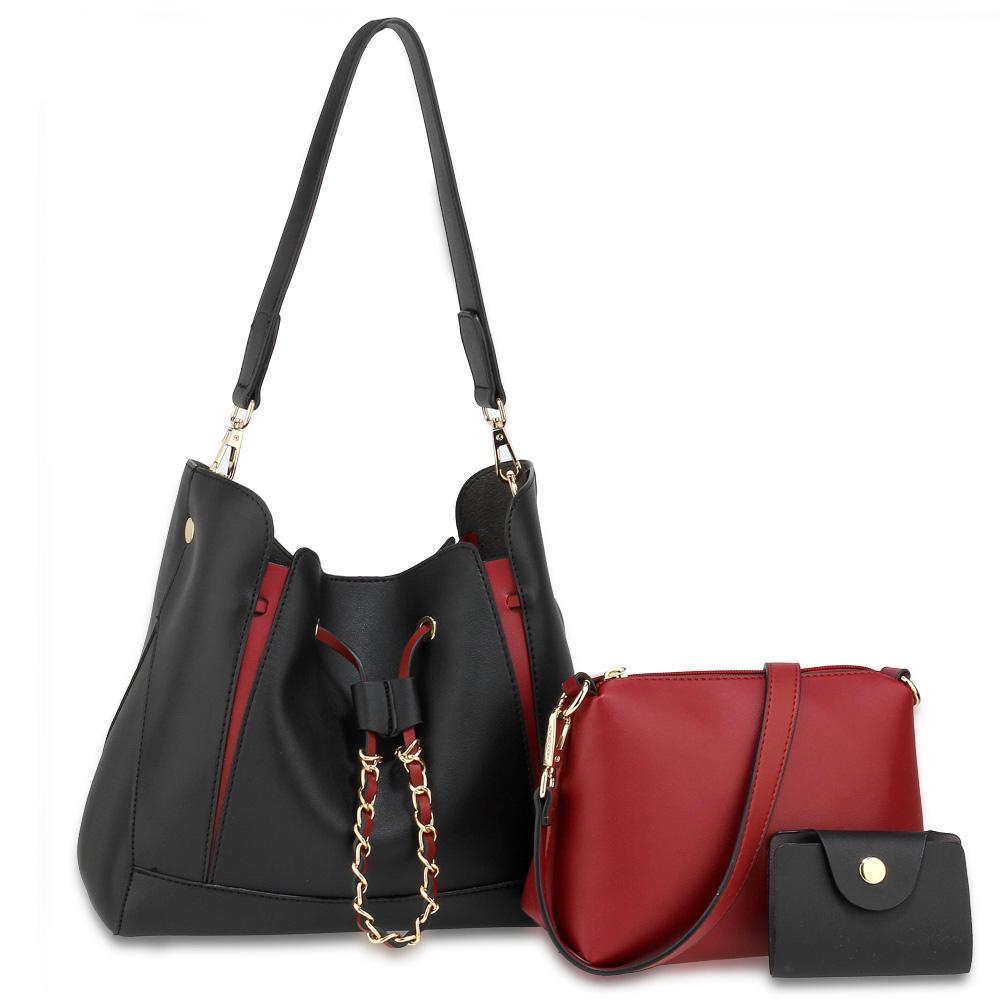 0d50543d49 Černo-červený set 3v1  kabelka na rameno+crossbody kabelka+vizitkovník  AG00670