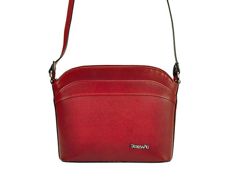 Tmavěčervená malá kožená crossbody kabelka Patrizia Piu no. 26 54a40c91b1d