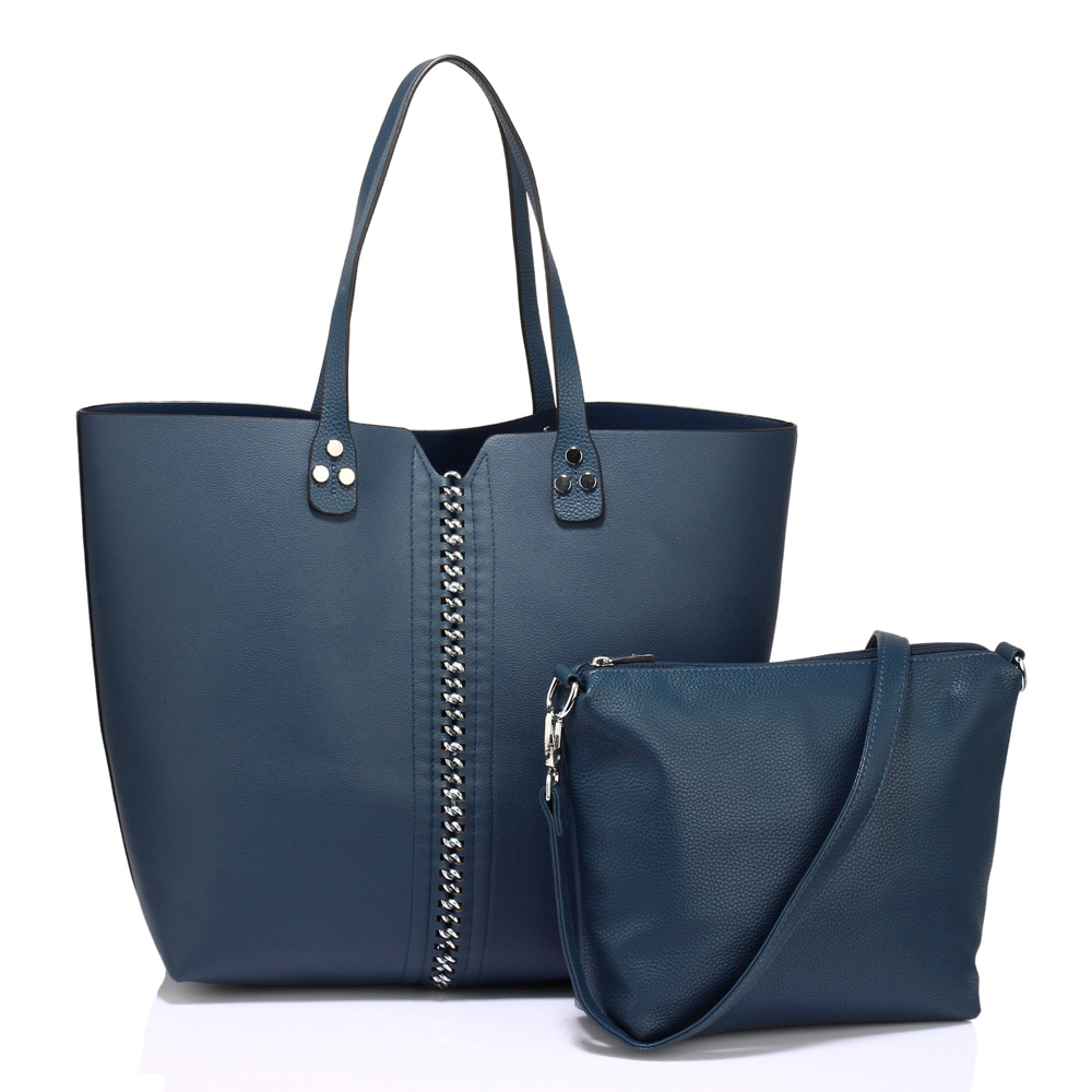 f5601e005892 Modrý set 2v1  velká shopperbag kabelka + malá crossbody AG00548 empty