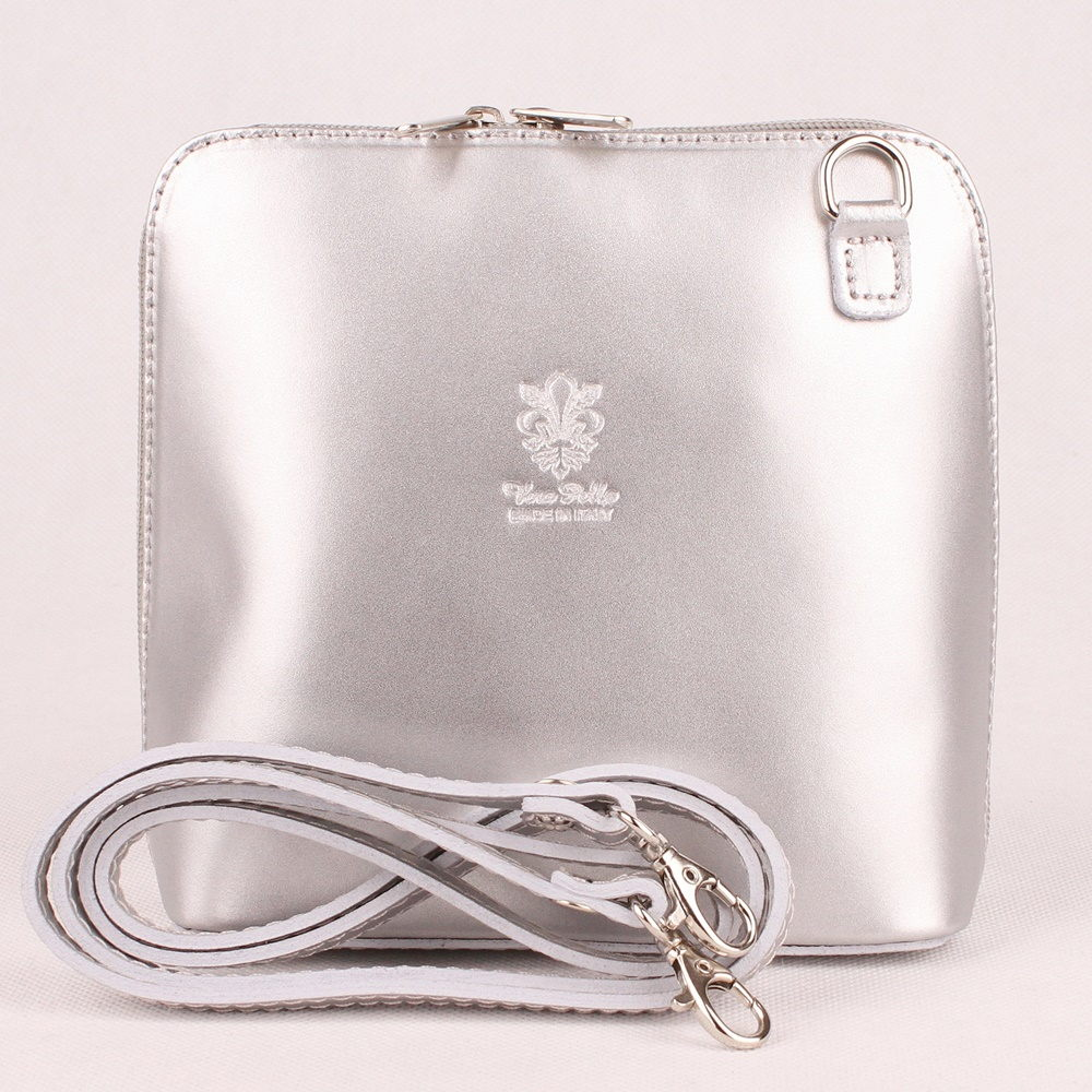 345c516c62 Stříbrná malá kožená crossbody kabelka no. 55