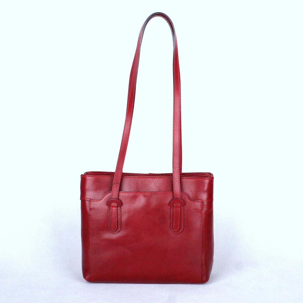 Tříoddílová tmavěčervená kožená kabelka na rameno no. 99  45c3e0d247