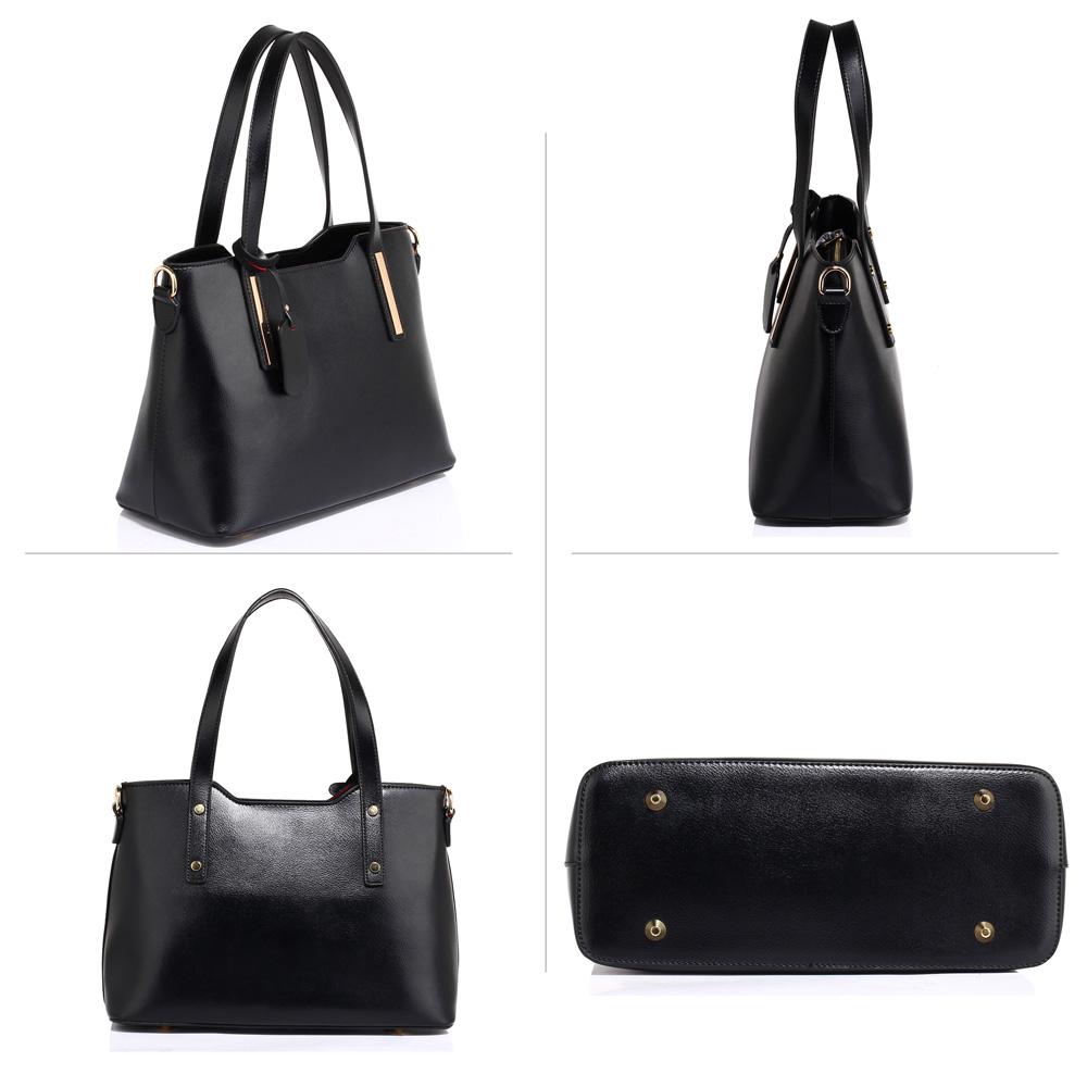 e92b179947 Středně velká pevná černá hladká kabelka do ruky i na rameno AG00528