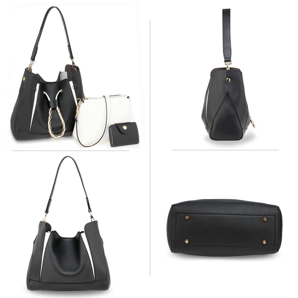 eb067ae59e Černo-bílý set 3v1 kabelka na rameno + crossbody kabelka + vizitkovník