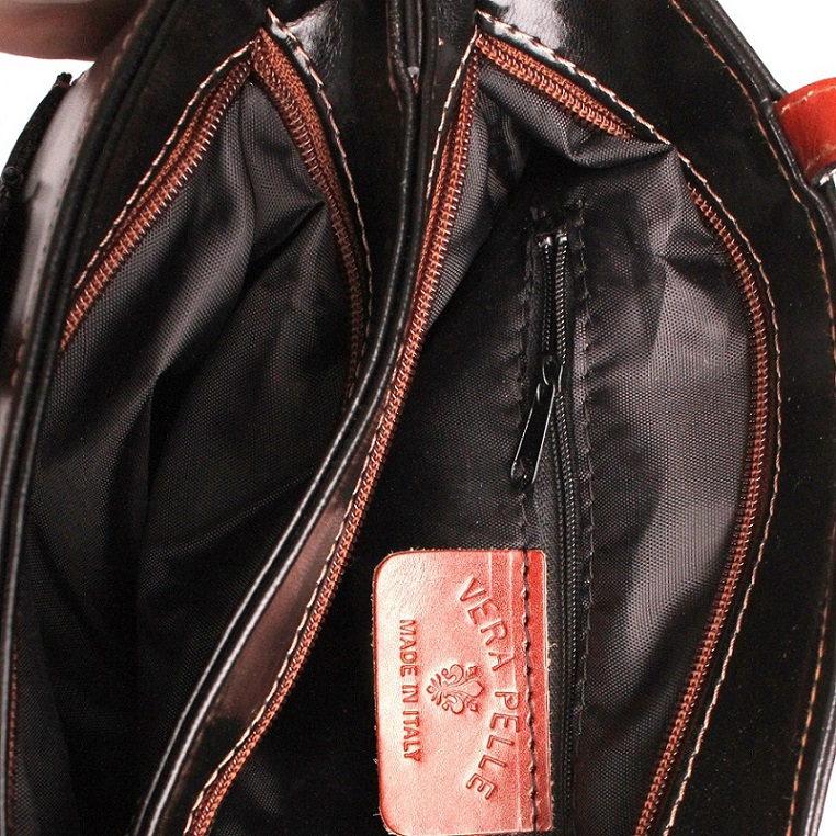 Tříoddílová černo-tmavěhnědá kožená kabelka na rameno no. 99 456abfc9a6